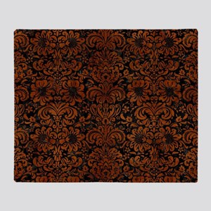 DAMASK2 BLACK MARBLE & BROWN BURL WO Throw Blanket