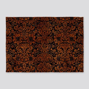 DAMASK2 BLACK MARBLE & BROWN BURL W 5'x7'Area Rug