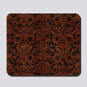 DAMASK2 BLACK MARBLE & BROWN BURL WOOD Mousepad