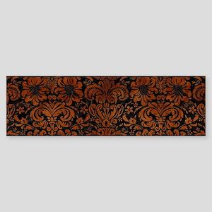 DAMASK2 BLACK MARBLE & BROWN BURL Sticker (Bumper)