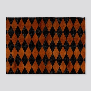 DIAMOND1 BLACK MARBLE & BROWN BURL 5'x7'Area Rug