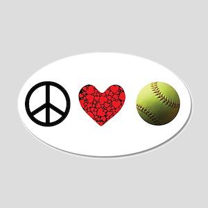 Peace Love Softball 20x12 Oval Wall Decal