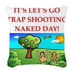 trap shooting Woven Throw Pillow