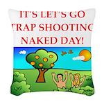 trap shooting Woven Throw Pillow