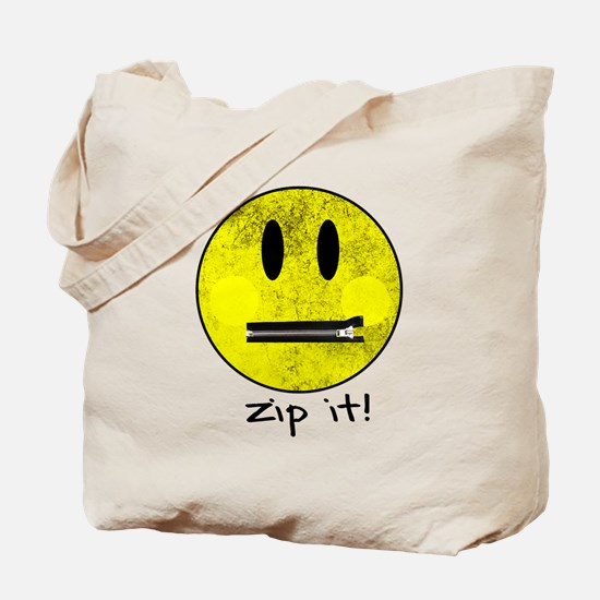 SMILEY FACE ZIP IT Tote Bag