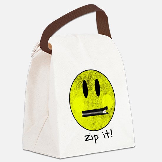 SMILEY FACE ZIP IT Canvas Lunch Bag