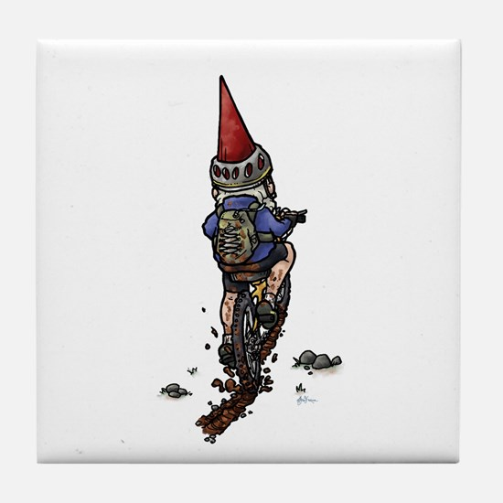 Dirty Little Mountain Biker Gnome Tile Coaster