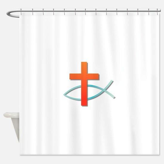 Christian cross fish Shower Curtain