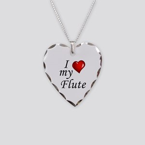 I Love my Flute Necklace Heart Charm