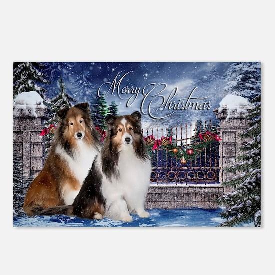 Festive Shelties Christmas Postcards (Package of 8