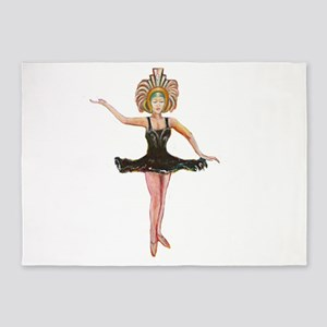 Dancer in the Black Tutu 5'x7'Area Rug