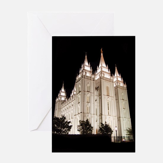 Salt Lake Temple Lit Up at Night Greeting Cards