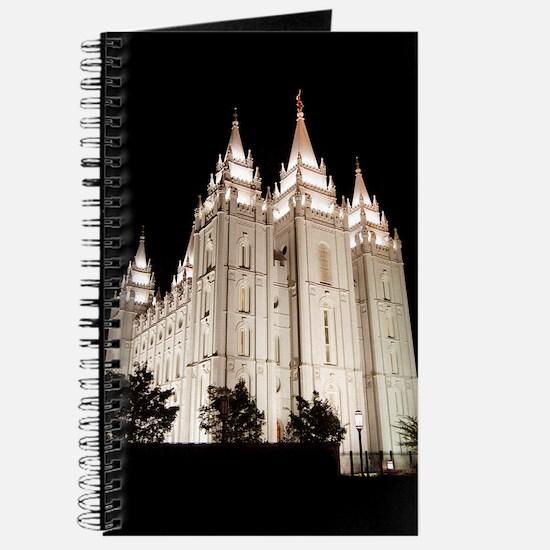 Salt Lake Temple Lit Up at Night Journal