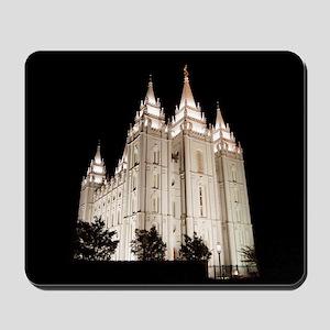 Salt Lake Temple Lit Up at Night Mousepad