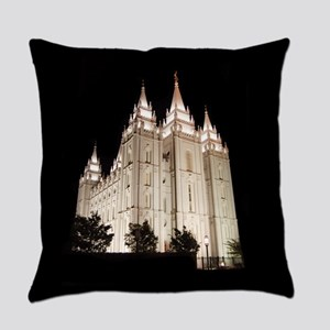 Salt Lake Temple Lit Up at Night Everyday Pillow
