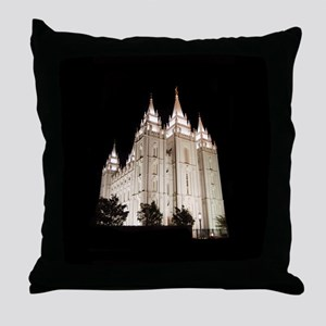 Salt Lake Temple Lit Up at Night Throw Pillow
