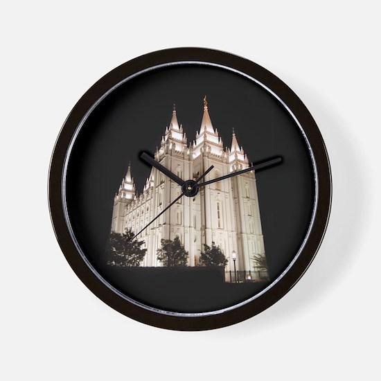 Salt Lake Temple Lit Up at Night Wall Clock