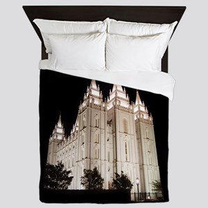 Salt Lake Temple Lit Up at Night Queen Duvet