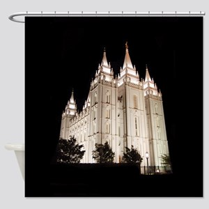 Salt Lake Temple Lit Up at Night Shower Curtain