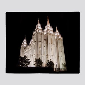 Salt Lake Temple Lit Up at Night Throw Blanket