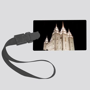 Salt Lake Temple Lit Up at Night Luggage Tag