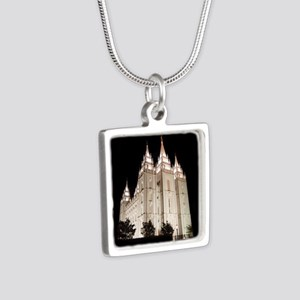 Salt Lake Temple Lit Up at Night Necklaces