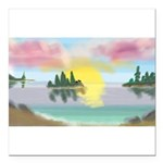 Sunset Island Square Car Magnet 3