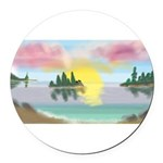 Sunset Island Round Car Magnet