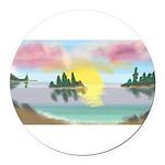 Sunset Island Round Car Magnet