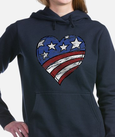Distressed American Flag Heart Sweatshirt
