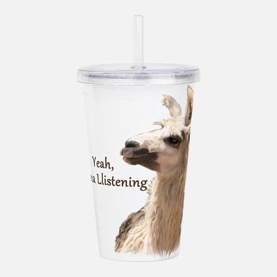 Llama Llistening Acrylic Double-wall Tumbler