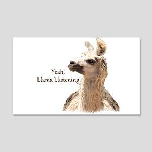 Llama Llistening 20x12 Wall Decal