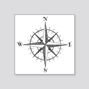"Compass Rose Square Sticker 3"" x 3"""