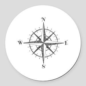 Compass Rose Round Car Magnet
