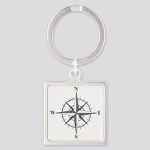 Compass Rose Square Keychain