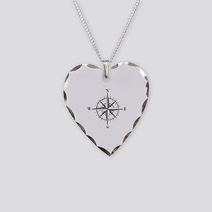 Compass Rose Necklace Heart Charm