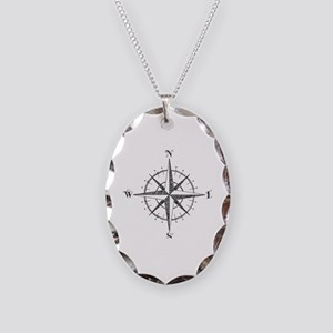 Compass Rose Necklace Oval Charm
