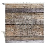 Rustic Nautical Compass Rose Wood Shower Curtain