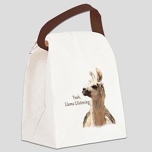 Llama Llistening Canvas Lunch Bag