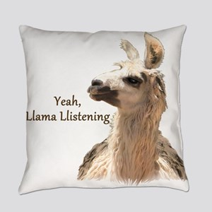 Llama Llistening Everyday Pillow