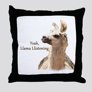 Llama Llistening Throw Pillow