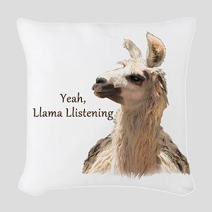 Llama Llistening Woven Throw Pillow