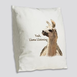 Llama Llistening Burlap Throw Pillow