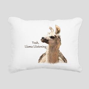 Llama Llistening Rectangular Canvas Pillow