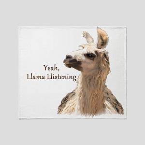 Llama Llistening Throw Blanket