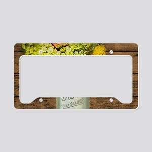 country mason jar wild flower License Plate Holder