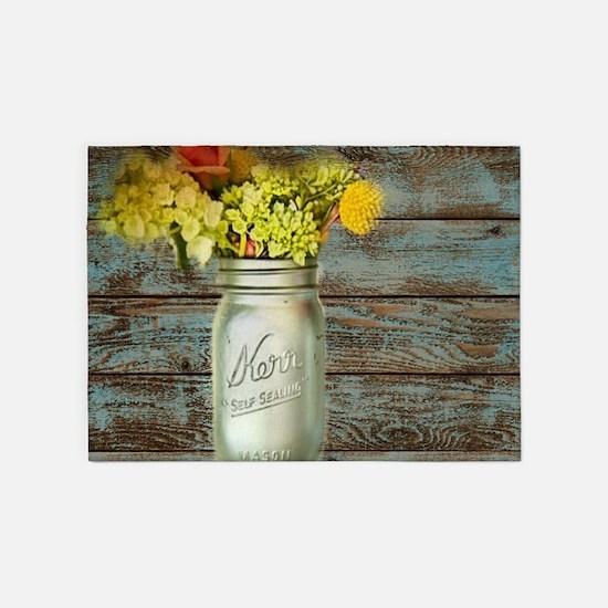 western country mason jar flower 5'x7'Area Rug