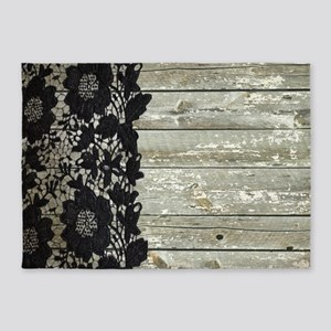 western country barn wood lace 5'x7'Area Rug