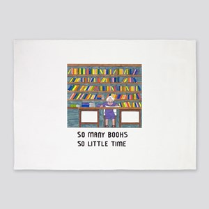 So Many Books so little time 5'x7'Area Rug