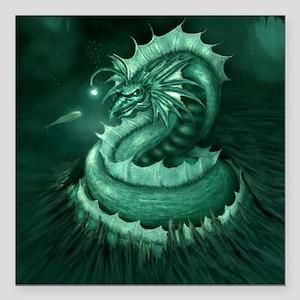 "Sea Serpent Square Car Magnet 3"" x 3"""